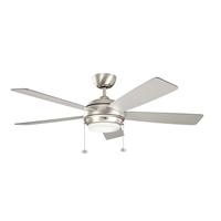 Picture for category Indoor Ceiling Fans 1 Light With Brushed Nickel Finish MNCN Bulb 52 inch 75 Watts