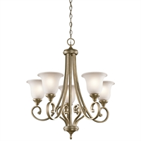 Picture for category Chandeliers 5 Light With Sterling Gold Finish Medium Base Bulb 28 inch 500 Watts