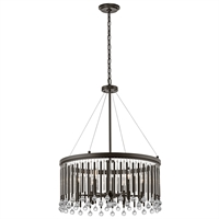 Picture for category Chandeliers 6 Light With Espresso Finish Steel Drum Candelabra Base 24 inch 360 Watts