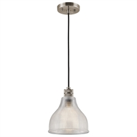 "Picture for category Mini Pendants 1 Light Fixtures With Classic Pewter Finish Glass Material Medium Bulb 8"" 100 Watts"