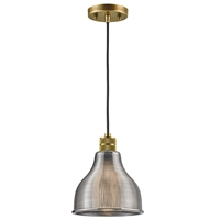 "Picture for category Mini Pendants 1 Light Fixtures With Natural Brass Finish Glass Material Medium Bulb 8"" 100 Watts"