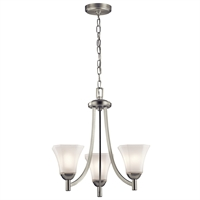 Picture for category Chandeliers 3 Light With Brushed Nickel Finish Steel Material Medium 20 inch 300 Watts