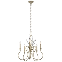 Picture for category Chandeliers 5 Light With Sterling Gold Finish Steel Candelabra 25 inch 300 Watts
