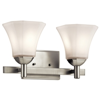 "Picture for category Bathroom Vanity 2 Light Fixtures With Brushed Nickel Finish Steel Material Medium Bulb 15"" 200 Watts"