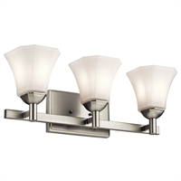 "Picture for category Bathroom Vanity 3 Light Fixture with Brushed Nickel Finish Steel Material Medium 23"" 300 Watts"