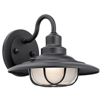 "Picture for category Wall Sconces 1 Light Fixtures With Textured Black Finish Aluminum Material Medium Bulb 11"" 100 Watts"