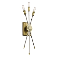 Picture for category Wall Sconces 3 Light With Natural Brass Finish Steel Candelabra 6 inch 120 Watts
