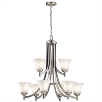 Picture for category Chandeliers 9 Light With Brushed Nickel Finish Steel Material Medium 30 inch 900 Watts