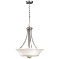 Picture for category Pendants 3 Light With Brushed Nickel Finish Steel Material Medium 17 inch 300 Watts