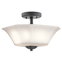 "Picture for category Semi Flush 2 Light Fixtures With Black Finish Steel Material Medium Bulb 13"" 120 Watts"