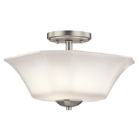 "Picture for category Semi Flush 2 Light Fixtures With Brushed Nickel Finish Steel Material Medium Bulb 13"" 120 Watts"