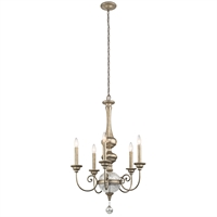 Picture for category Chandeliers 5 Light With Sterling Gold Finish Steel Candelabra 24 inch 300 Watts