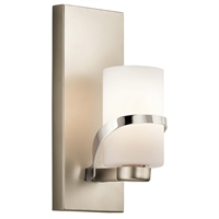 "Picture for category Wall Sconces 1 Light Fixtures With Polished Nickel Finish Steel Material Medium Bulb 5"" 100 Watts"