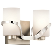 Picture for category Bathroom Vanity 2 Light With Polished Nickel Finish Steel Medium 13 inch 200 Watts