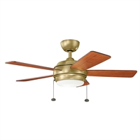 Picture for category Indoor Ceiling Fans Light With Natural Brass Tone Finish Steel Material 42 inch