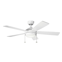 Picture for category Indoor Ceiling Fans Light With Matte White Tone Finished Steel Material 52 inch