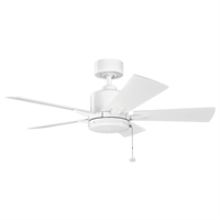 Picture for category Indoor Ceiling Fans Light With Matte White Tone Finished Steel Material 42 inch