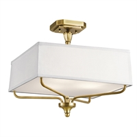 Picture for category Semi Flush 3 Light With Natural Brass Finish Steel Material Medium 15 inch 300 Watts
