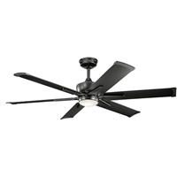 Picture for category Indoor Ceiling Fans 1 Light With Satin Black Finish Steel Drum LED 60 inch 17 Watts