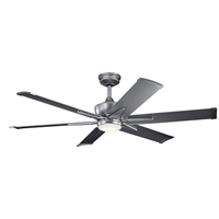 Picture for category Indoor Ceiling Fans 1 Light With Weathered Steel Powder Coat Finish Steel LED 60 inch 17 Watts
