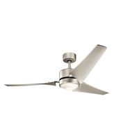Picture for category Indoor Ceiling Fans 1 Light With Brushed Nickel Finish Steel LED 60 inch 17 Watts