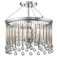 Picture for category Semi Flush 3 Light With Chrome Finish Steel Drum Candelabra Base 15 inch 180 Watts