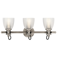"Picture for category Bathroom Vanity 3 Light Fixtures With Classic Pewter Finish Steel Material Medium Bulb 24"" 225 Watts"