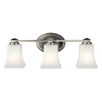 "Picture for category Bathroom Vanity 3 Light Fixtures With Brushed Nickel Finish Steel Material Medium Bulb 21"" 225 Watts"