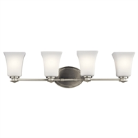 "Picture for category Bathroom Vanity 4 Light Fixture with Brushed Nickel Finish Steel Material Medium 28"" 300 Watts"