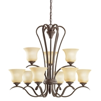 Picture for category Chandeliers 9 Light With Olde Bronze Finished Medium Base Bulb 32 inch 900 Watts