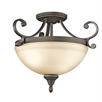 "Picture for category Semi Flush 2 Light Fixtures With Olde Bronze Finish Medium Bulb Type 17"" 200 Watts"