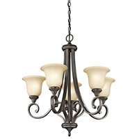 Picture for category Chandeliers 5 Light With Olde Bronze Finished Medium Base Bulb 28 inch 500 Watts