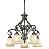 Picture for category Chandeliers 5 Light With Olde Bronze Finished Medium Base Bulb 27 inch 500 Watts