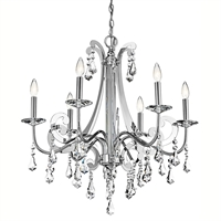 Picture for category Chandeliers 6 Light With Chrome Finished Candelabra Base Bulb 28 inch 360 Watts