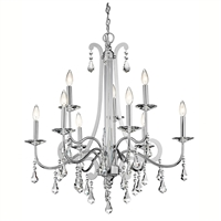 Picture for category Chandeliers 9 Light With Chrome Finished Candelabra Base Bulb 34 inch 540 Watts