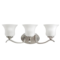 "Picture for category Bathroom Vanity 3 Light Fixture with Brushed Nickel Finish Medium 24"" 300 Watts"