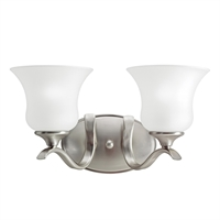 "Picture for category Bathroom Vanity 2 Light Fixture with Brushed Nickel Finish Medium 15"" 200 Watts"