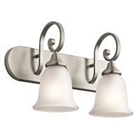 "Picture for category Bathroom Vanity 2 Light Fixtures With Brushed Nickel Finish Medium Bulb Type 18"" 200 Watts"