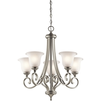 "Picture for category Chandeliers 5 Light Fixtures With Brushed Nickel Finish Medium Bulb Type 28"" 500 Watts"