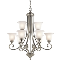 "Picture for category Chandeliers 9 Light Fixtures With Brushed Nickel Finish Medium Bulb Type 34"" 900 Watts"