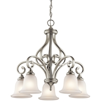 "Picture for category Chandeliers 5 Light Fixtures With Brushed Nickel Finish Medium Bulb Type 27"" 500 Watts"