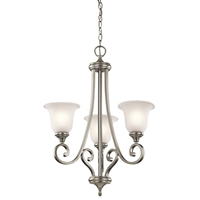 "Picture for category Chandeliers 3 Light Fixtures With Brushed Nickel Finish Medium Bulb Type 23"" 300 Watts"