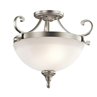 "Picture for category Semi Flush 2 Light Fixtures With Brushed Nickel Finish Medium Bulb Type 17"" 200 Watts"
