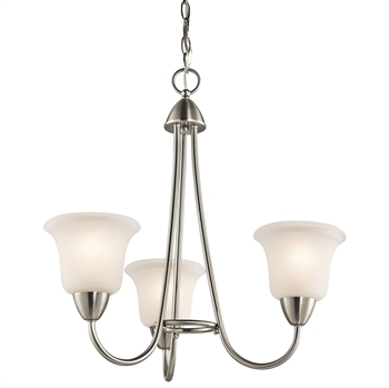 "Picture of Chandeliers 3 Light Fixtures With Brushed Nickel Finish Medium Bulb Type 21"" 300 Watts"