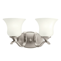 "Picture for category Bathroom Vanity 2 Light Fixtures With Brushed Nickel Finish GU24 Bulb Type 15"" 26 Watts"