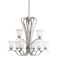 Picture for category Chandeliers 9 Light With Brushed Nickel Finish Medium Base Bulb 32 inch 900 Watts