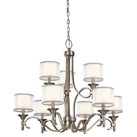 Picture for category Chandeliers 9 Light With Antique Pewter Finish Candelabra Bulb 34 inch 540 Watts