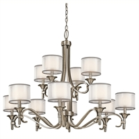 Picture for category Chandeliers 12 Light With Antique Pewter Finish Candelabra Bulb 42 inch 720 Watts