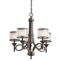 Picture for category Chandeliers 5 Light With Mission Bronze Finish Candelabra Bulb 25 inch 300 Watts