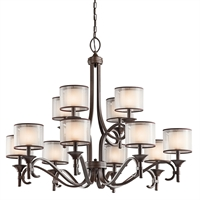 Picture for category Chandeliers 12 Light With Mission Bronze Finish Candelabra Bulb 42 inch 720 Watts